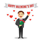 Romantic cartoon man with flowers for Valentines Day Royalty Free Stock Photo