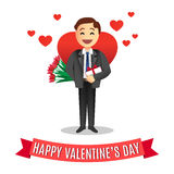 Romantic cartoon man with flowers for Valentines Day Stock Photo