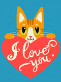 Enamored Cat With Heart And Text I Love You. Handdrawn Inspirational And Encouraging Quote. Royalty Free Stock Photo