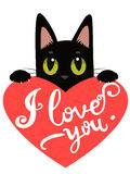 Enamored Cat With Heart And Text I Love You. Handdrawn Inspirational And Encouraging Quote. Stock Photo