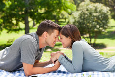 Enamored couple. In the park stock photography