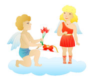 Enamored cupids Stock Photos