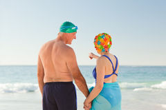 Enamored elderly couple at the beach Royalty Free Stock Photography