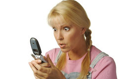 Enamored Girl Texting Cell. Enamored Girl Texting with Cell Phone Royalty Free Stock Photo
