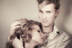 Enamored guy and the girl Royalty Free Stock Photos