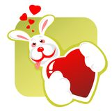 Enamored rabbit and heart Stock Photography