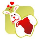 Enamored rabbit and heart stock illustration