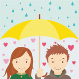 Enamored under an umbrellla Stock Photo