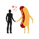 Enamouré chez l'homme de hot-dog Homme et aliments de préparation rapide Amoureux retenant des mains Photos stock
