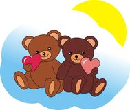 Enamoured bears. Sitting on a cloud Royalty Free Stock Image