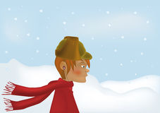 Enamoured boy snow a wind Stock Image