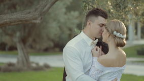 Enamoured bride and groom kissing in the park stock video footage