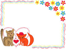 Enamoured cat and kitty on Valentine greeting card Royalty Free Stock Photos
