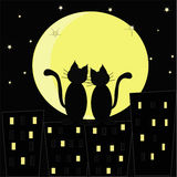 Enamoured cats. Black outline of two cats on a background of the moon and houses Stock Photography