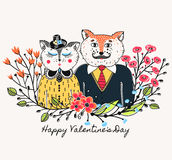 Enamoured cats. Greeting background on Valentine`s Day. Feast of love. Holiday. Floral border. Sketch of animals Royalty Free Stock Images