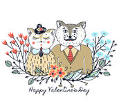 Enamoured cats. Greeting background on Valentine`s Day. Feast of love. Holiday. Floral border. Sketch of animals Stock Photos