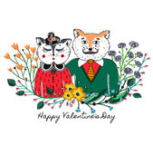 Enamoured cats. Greeting background on Valentine`s Day. Feast of love. Holiday. Floral border. Sketch of animals Royalty Free Stock Image