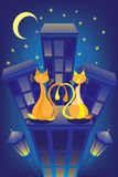 Enamoured cats on a night roof. The image of a night city with enamoured cats on a roof. Against the moon, stars and lanterns Royalty Free Stock Photo