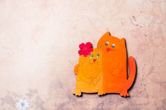 Enamoured cats, Valentine`s day. Stock Photos