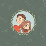 Enamoured couple of boy and girl in eyeglasses Royalty Free Stock Photos