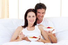 Enamoured couple having breakfast Royalty Free Stock Image