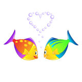 Enamoured fishes. Starting-up bubbles in the form of heart Royalty Free Stock Photos