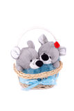 Enamoured mice in a basket Royalty Free Stock Photography
