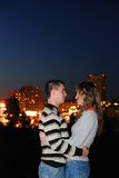Enamoured pair in a night city Stock Photo
