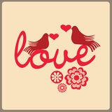 Enamoured pigeons, hearts and flow Stock Photos