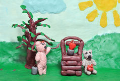 Enamoured plasticine bear cubs Stock Photos