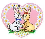 Enamoured rabbits Stock Photos