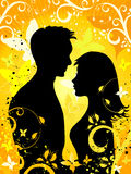 Enamoured on a summer background. Summer Background with silhouettes of enamoured pair and  ornaments Royalty Free Stock Photos