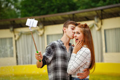 Enamoured Teenagers Do Selfie Stock Photography