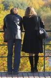 Enamoured on walk. Last warm autumn days stock images