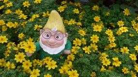 Enano del jardín en una cama de flor Fotografía de archivo libre de regalías