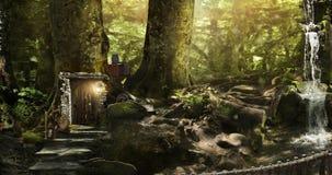 Enanos y duendes de la vivienda en un bosque mágico Fotos de archivo