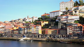 Enbankment of Porto in sunny day, Portugal stock video footage