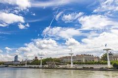 Enbankment van de rivier van de Rhône in Lyon, Frankrijk Royalty-vrije Stock Foto