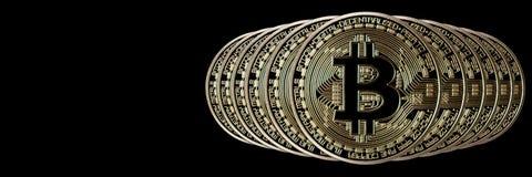 Encabeçamento da bandeira de Bitcoin Moeda de ouro Cryptocurrency com espaço para imagens de stock