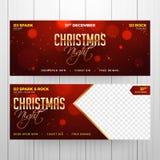 Encabeçamento da celebração da noite de Natal ou grupo da bandeira com f múltiplo ilustração stock