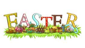Encabeçamento da Páscoa com letras coloridas Fotos de Stock Royalty Free