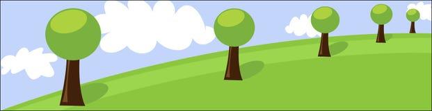 Encabeçamento da paisagem com árvores e nuvens Ilustração Royalty Free