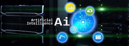 Encabeçamento da site Conceito das tecnologias do negócio da olá!-tecnologia da inteligência artificial Encabeçamento do Web site fotos de stock