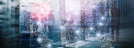 Encabeçamento da site Rede global da exposição dobro do mapa do mundo Telecomunicação, Internet internacional do negócio e ilustração royalty free