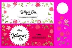 Encabeçamento da venda ou grupo criativo da bandeira com oferta do disconto para a celebração feliz do dia do ` s das mulheres Fotos de Stock