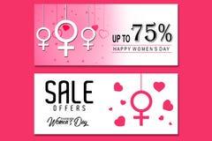 Encabeçamento da venda ou grupo criativo da bandeira com oferta do disconto para a celebração feliz do dia do ` s das mulheres Imagem de Stock