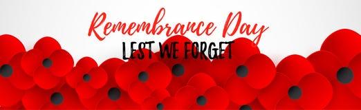 Encabeçamento da Web do dia da relembrança A fim de que não nós esqueçamos o caslligraphy Paz do flowerf da papoila Bandeira memo ilustração stock