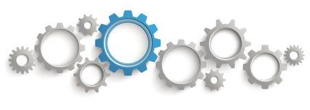 Encabeçamento de Gray Blue Gears White Background ilustração do vetor