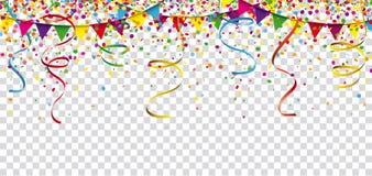 Encabeçamento do festão das fitas dos confetes do carnaval transparente Fotos de Stock Royalty Free