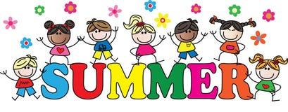Encabeçamento do verão com as crianças misturadas diferentes Fotografia de Stock